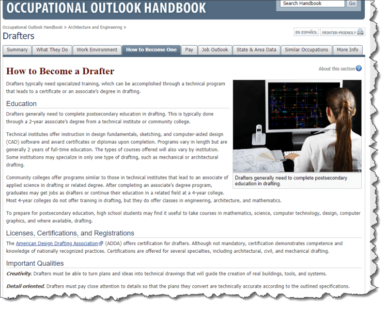 """A screenshot of the """"How to Become One"""" page from the Occupational Outlook Handbook on U.S. Department of Labor website."""