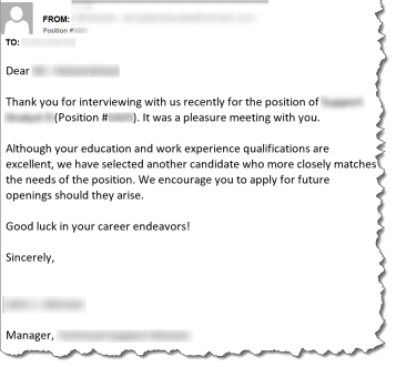 A typical post-interview rejection email, with identifiable information redacted.