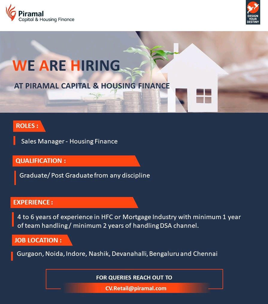 Urgent Job Vacancy for Sales Manager Housing Finance in Piramal