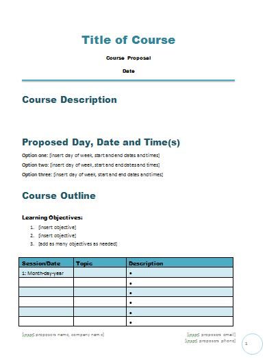 Free Course Proposal Template – Career Minded