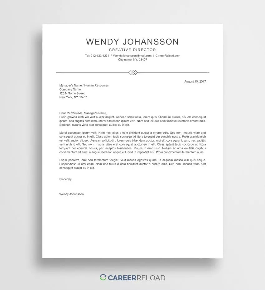 Free Templates For Cover Letters Free Cover Letter Template Wendy Career Reload