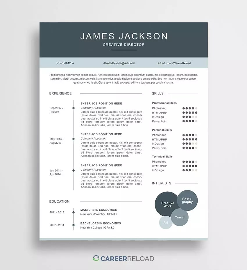 Free Resume Download Template Free Photoshop Resume Templates Free Download Career Reload