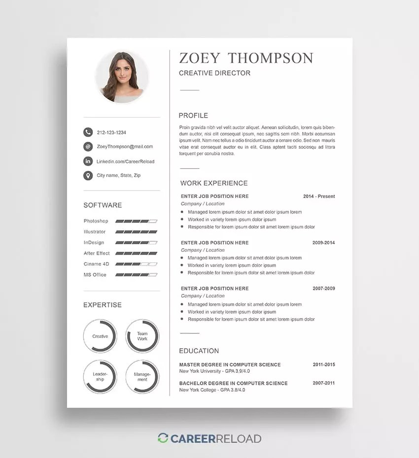 Resume Download Template Free Free Photoshop Resume Templates Free Download Career Reload