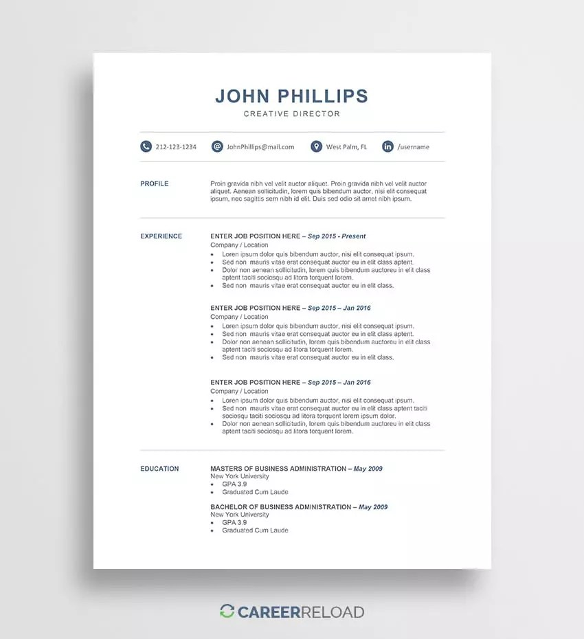 Free Resume Word Template Download Free Resume Templates Free Resources For Job Seekers