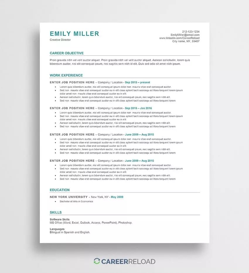 Free Resume Word Template Free Ats Resume Template Emily Career Reload