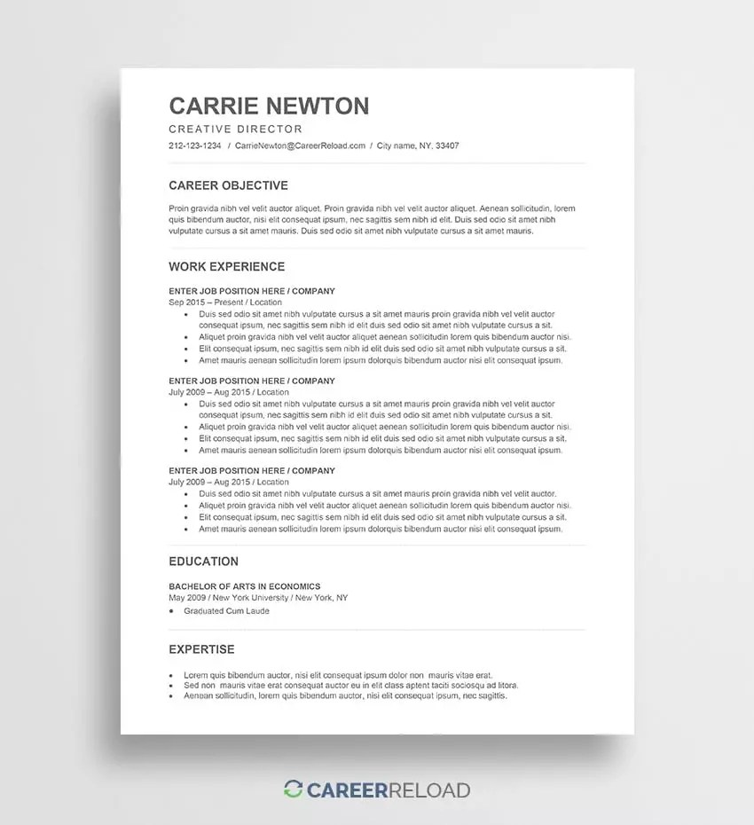 Resume Templates For Word Free Free Word Resume Templates Free Microsoft Word Cv Templates