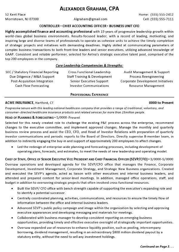 sample corporate controller resume