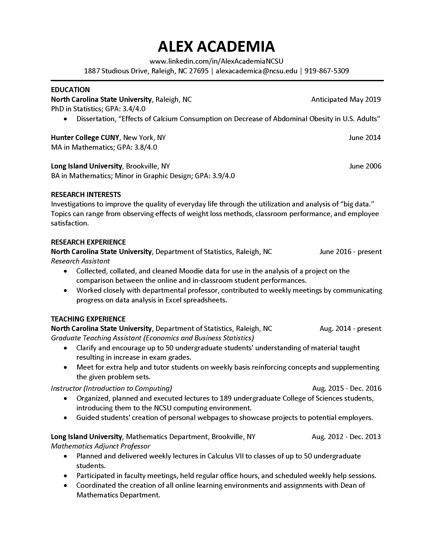 career overview resume