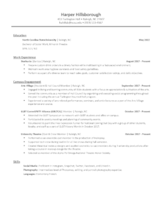 Resume Examples Career Development Center