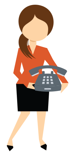 An icon of a woman holding an old fashioned telephone