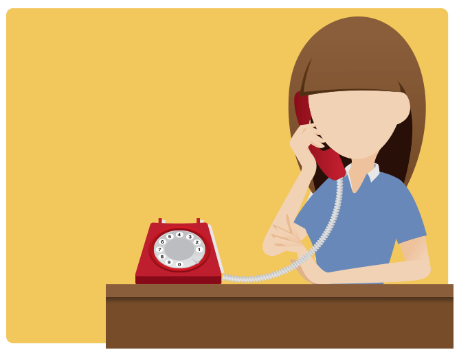 A woman answering the phone