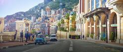 A bright european street