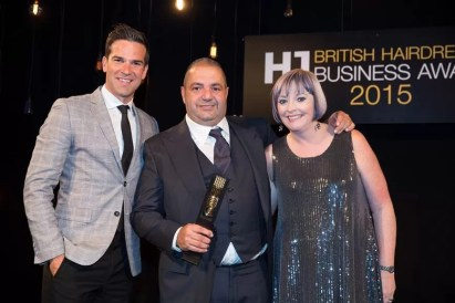 Andy with TV Presenter Gethin Jones and Editor-in-Chief of Hairdressers Journal Jayne Lewis-Orr