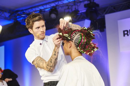 Model being styled at Rush 2015