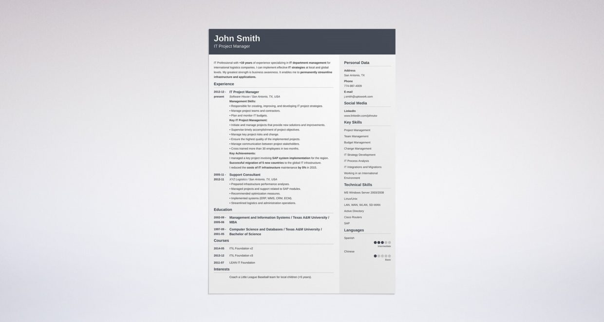 resume sites templates