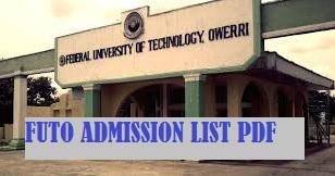 futo admission list