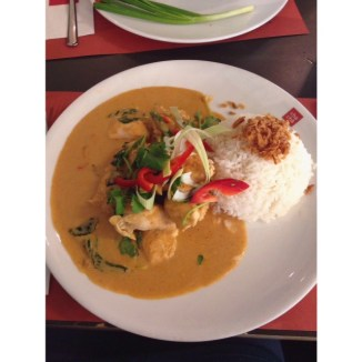 Chicken in peanut sauce and rice. OMG this was BOMB