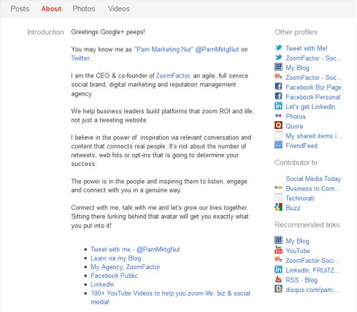 Pam MarketingNut Google+ profile