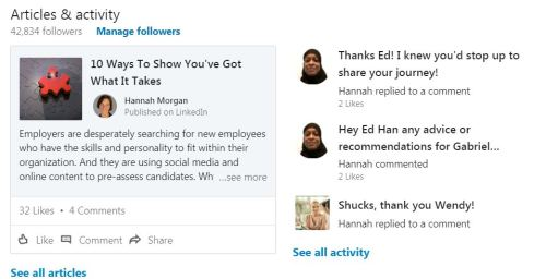 LinkedIn articles and activity