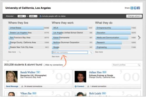 LI alumni tool screen shot by LinkedIn