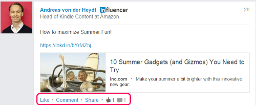 share status update by LinkedIn Influencer