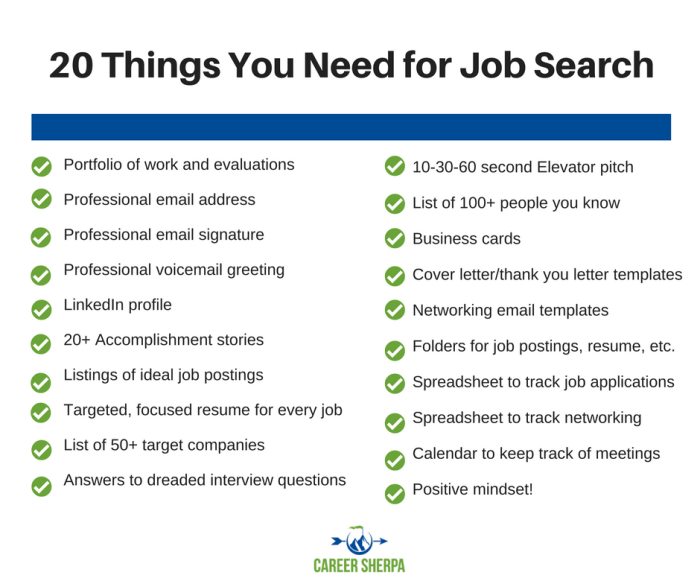20 job search needs