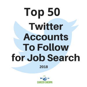 top 50 twitter accounts to follow for job search