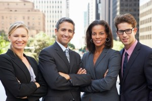 Business People in suits in a city