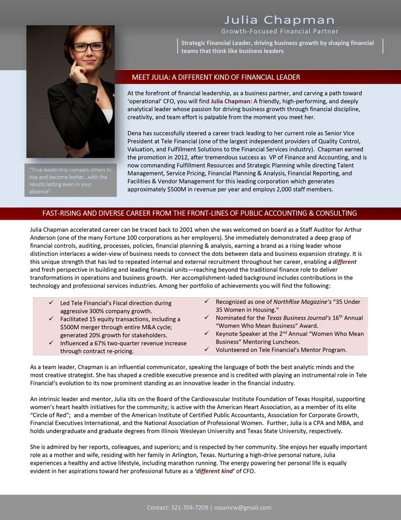 Traditional Executive Biography  Career Steering Premium Executive Resume Writing Service