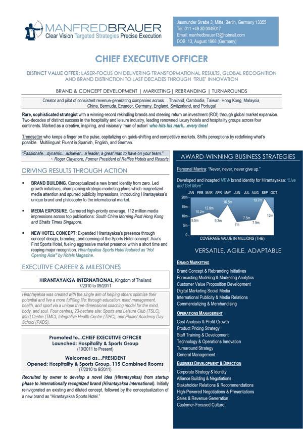 Latest Pro Resume Examples For Executives CEO CEO CTO CIO CFO
