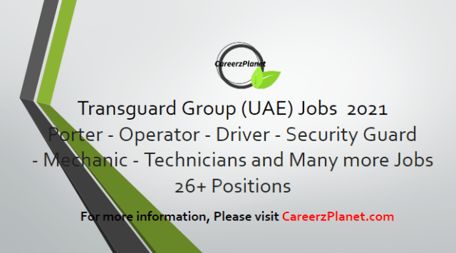 30+ positions vacant at Transguard Group Careers in UAE 10 May 2021 1- Bid Coordinator – Sales Support Full Time Dubai, UAE  2- Analyst – Sales Support Full Time Dubai, UAE  3- Guest Operations Manager- EXPO Pavilion Full Time  Dubai, UAE  4- Senior Manager- Security (EXPO Pavilion) Full Time Dubai, UAE  5- Trainer- Expo Pavilion Full Time Dubai, UAE  6- Assistant Pricing Analyst- Sales Support Full Time Dubai, UAE  7- Security Guard - PSCOD - Female Full Time Abu Dhabi, UAE  8- Product Executive- Marketing Full Time Dubai, UAE  9- Operations Manager- Aviation Full Time Abu Dhabi, UAE  10- Operations Manager -Fleet (Transport) Full Time Dubai, UAE  11- Administrator- Recruitment Full Time Dubai, UAE  12- Specialist- Recruitment Full Time Dubai, UAE  13- News Partnerships Operations Associate- Turkish speaker Full Time Dubai, UAE  14- Datacom Engineer-Mandarin speaker Full Time Dubai, UAE  15- Customer Service Coordinator Full Time Dubai, UAE  16- Executive Assistant -Integrated Facility Services Full Time Dubai, UAE  And many more jobs. For more details, please scroll down & see the details.  Last Date to Apply: May-31-2021  Transguard Group Careers - United Arab Emirates Apply at CareerzPlanet.com