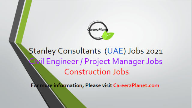 Engineering Jobs in UAE 03 Apr 2021 1- Senior Civil Engineer / Project Manager Full Time Abu Dhabi, UAE  Responsibilities: a- Interprets, organizes, and coordinates technical design engineering assignments involving unique or controversial problems which significantly affect major projects. b- Plans, organizes, and recommends programs and resources for the discipline to meet the objectives of the contracted projects. c- Determines client requirements and assists in the interpretation of specifications, drawings, instructions, and related documents. d- Consults with construction personnel concerning design construct ability as related to field conditions, sequencing, and scheduling of construction activities.  Requirements: a- Must possess a bachelor's degree in civil engineering from an accredited four-year college or university. b- Must possess 10 or more years of relevant experience. c- Proficiency in AutoCAD Civil 3D software and tools utilized in the development of site civil grading, corridor models, sections/section views, and general civil paving and grading designs is a plus.  For more details, please scroll down & see the details.  Last Date to Apply: Apr-17-2021  Stanely Consultants Careers - United Arab Emirates Apply at CareerzPlanet.com