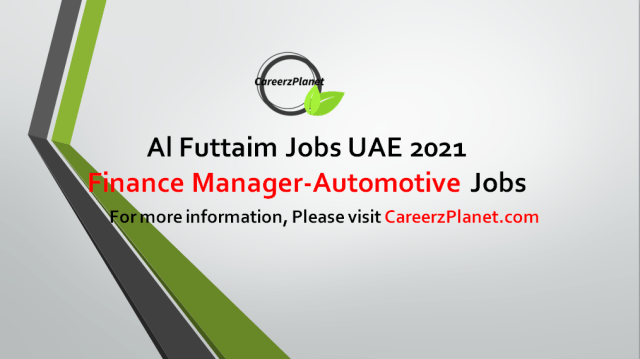 Finance Manager-Automotive Jobs in UAE 31 Aug 2021