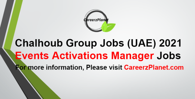 Events Activations Manager Jobs in UAE 06 Sep 2021