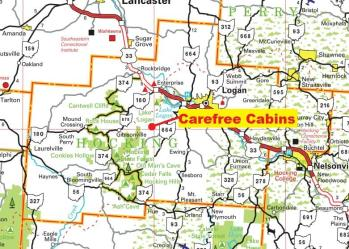 cabins hocking hills cabin map ohio carefree serenity location directions rentals log contact creekside rental many cell phone llc gps