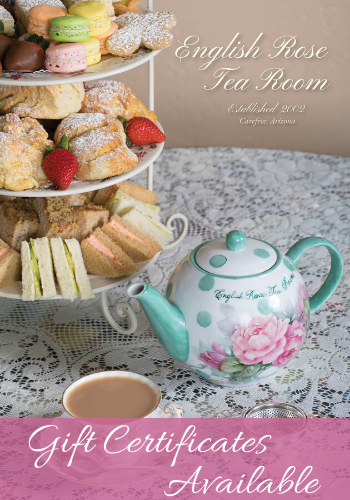 gift certificates available at the english rose tea room carefree