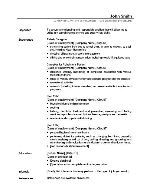 Caregiver Resume Objective Caregiver Resume Sample Unforgettable  Housekeeping Resume Objective