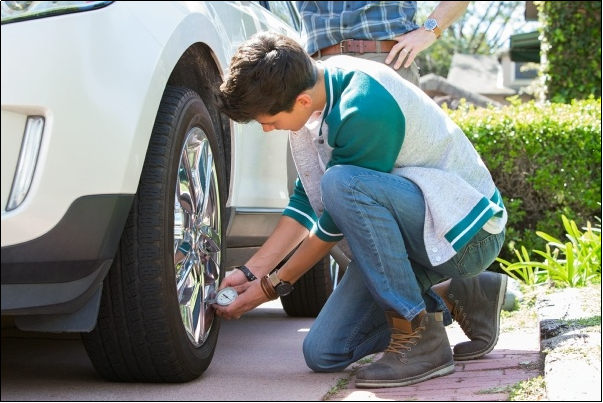 A well-maintained car tire