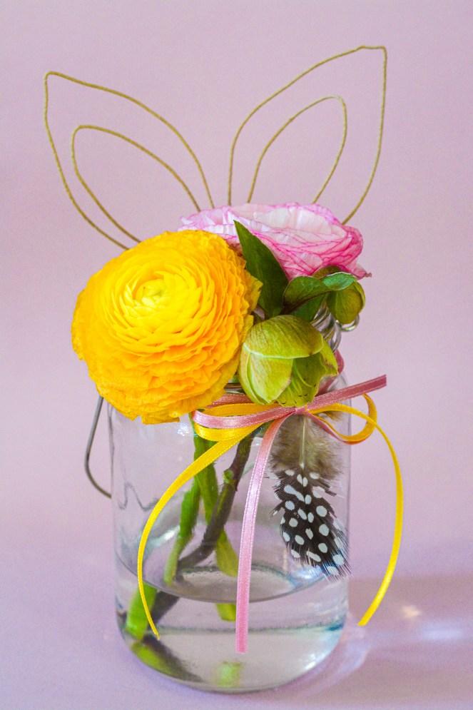 Osterdeko, Glas mit Hasenohren, Frühlingsdeko