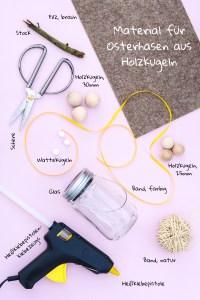 Osterdeko - Osterhasen aus Holzkugeln. Materialliste für Hasen aus Holzkugeln
