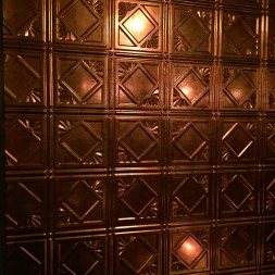 Metallic patterned wall at the restaurant