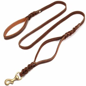 FOCUSPET Heavy Duty Best Leather Dog Leashes