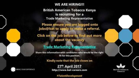 BAT – Trade Marketing Representative | All Jobs in Kenya and beyond