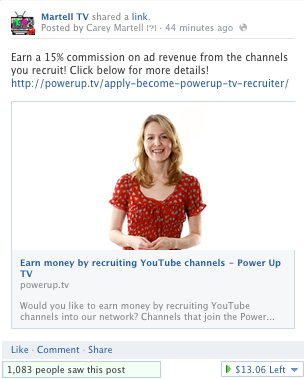 Facebook promotion PowerupTV March
