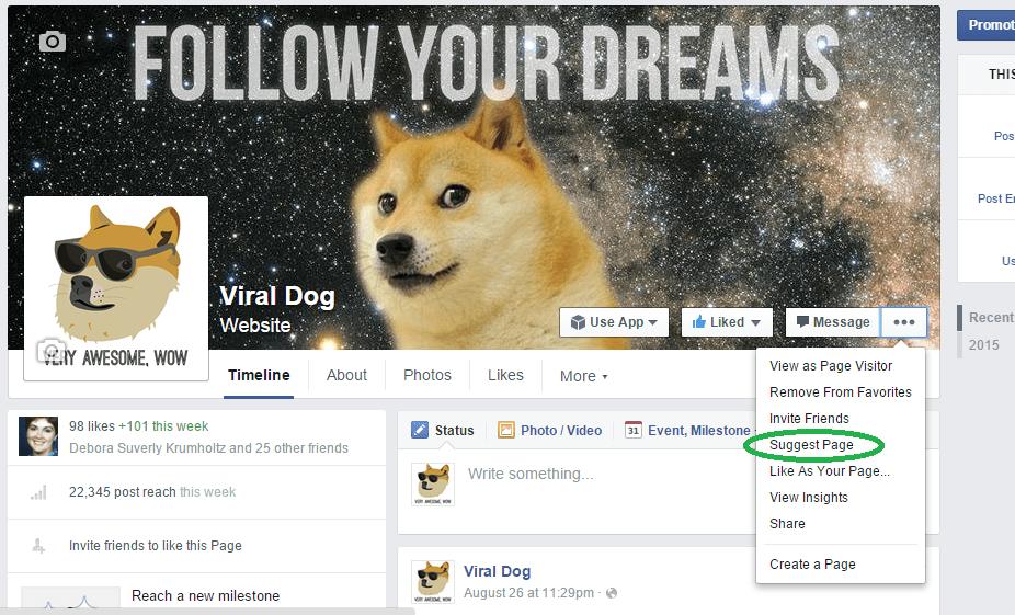 Facebook suggest page menu