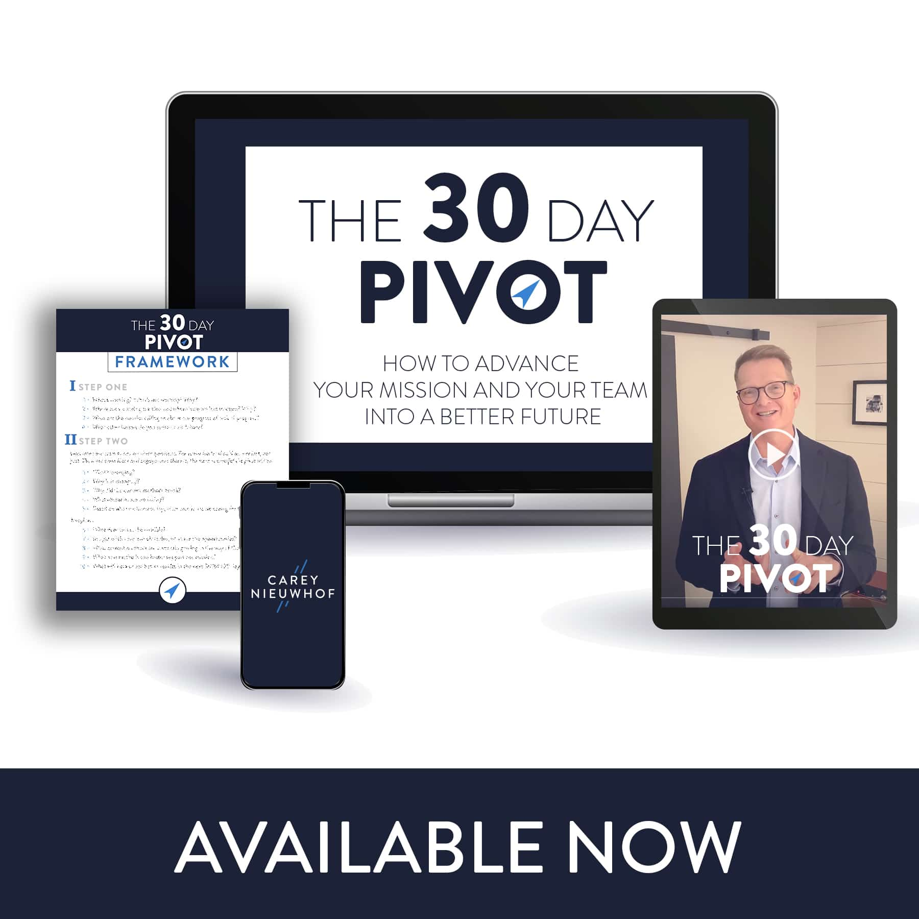 30-Day Pivot product bundle. Workbook, laptop and video.
