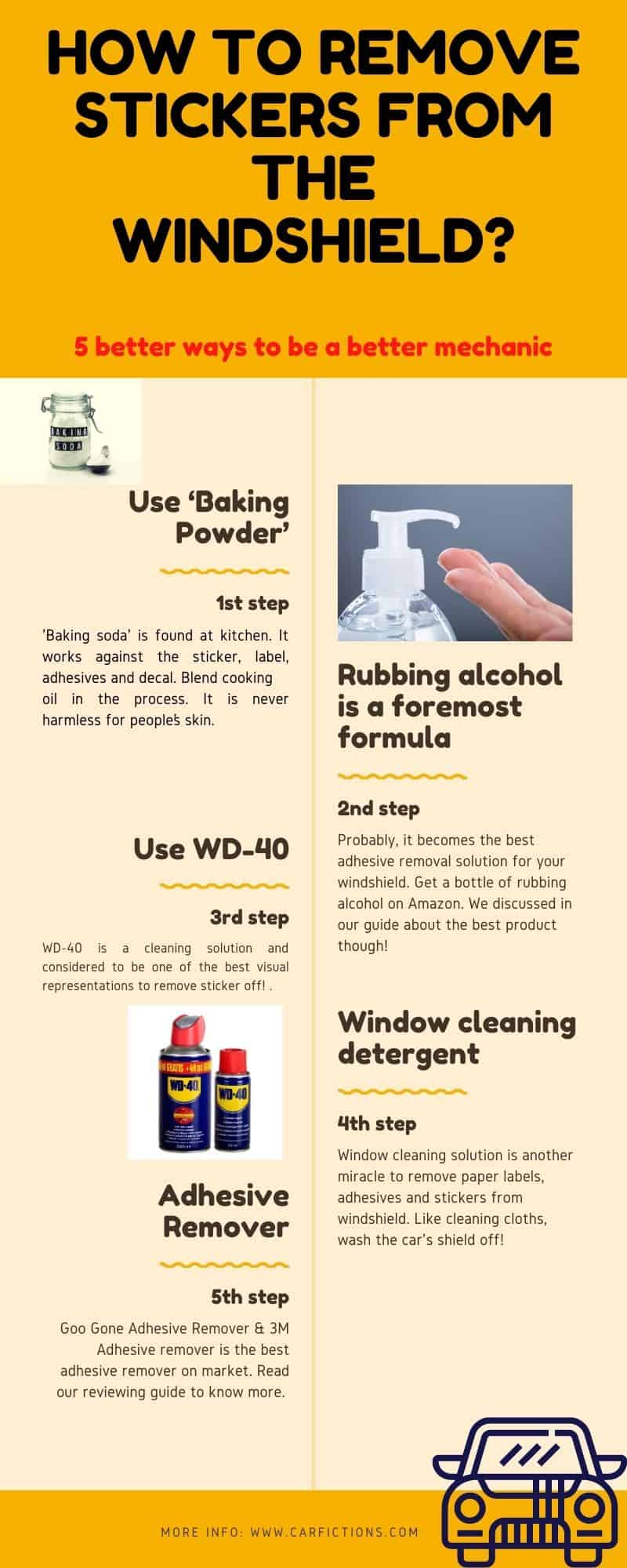 infographic How to Remove Stickers From the Windshield