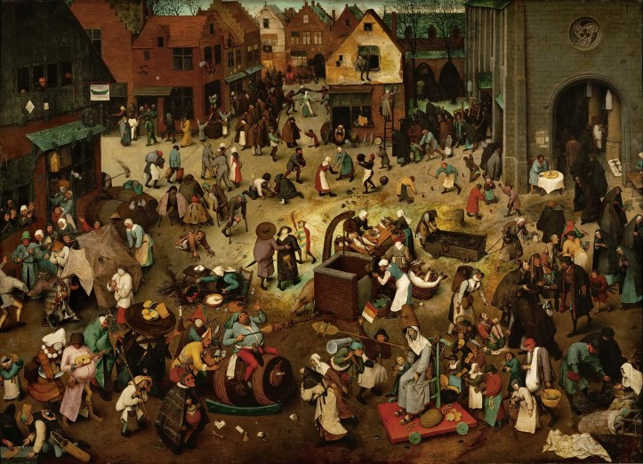 """Peter Breughel the Younger's """"The Battle of Carnival and Lent""""  In the foreground, two opposing processions, the one to the left led by the replete figure of Carnival and the one to the right by the haggard figure of Lent, are about to confront each other in a burlesque parody of a joust. Here, on either side of the picture, are feasting and fasting, winter and spring (the trees to the left are leafless, those to the right have leaves), popular jollity and well-ordered charity, the ill-famed tavern and the church as the refuge of the pious soul. Whilst the father's work was not lacking in humour, the son's emphasises the encyclopaedic aspect: the many scenes accompanying the"""
