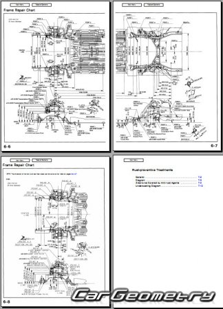 Размеры кузова Acura CL (YA1) 1996–2000 Body Repair Manual