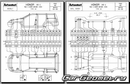 Геометрические размеры кузова Honda HR-V (GH) 1998–2005 3
